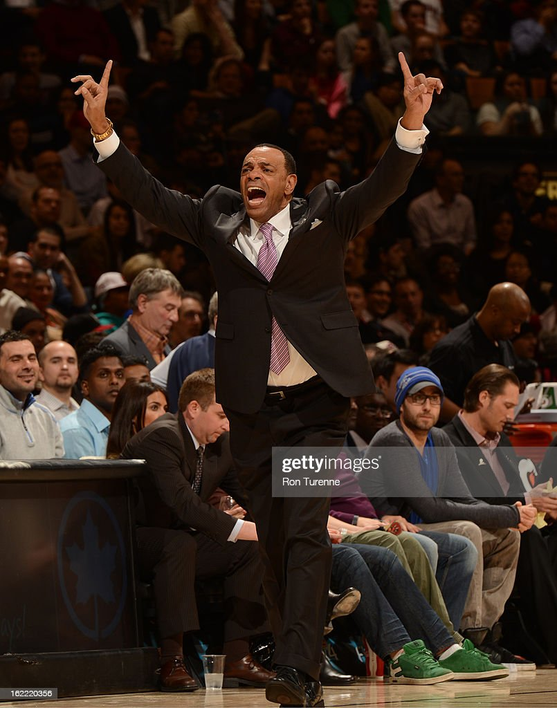 Lionel Hollins, Head Coach of the Memphis Grizzlies, calls a play against the Toronto Raptors on February 20, 2013 at the Air Canada Centre in Toronto, Ontario, Canada.