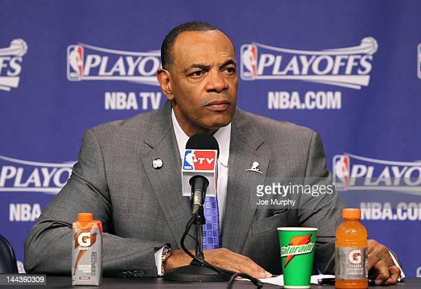 Lionel Hollins Head Coach of the Memphis Grizzlies speaks to the media after the Memphis Grizzlies lost to the Los Angeles Clippers in Game Seven of...