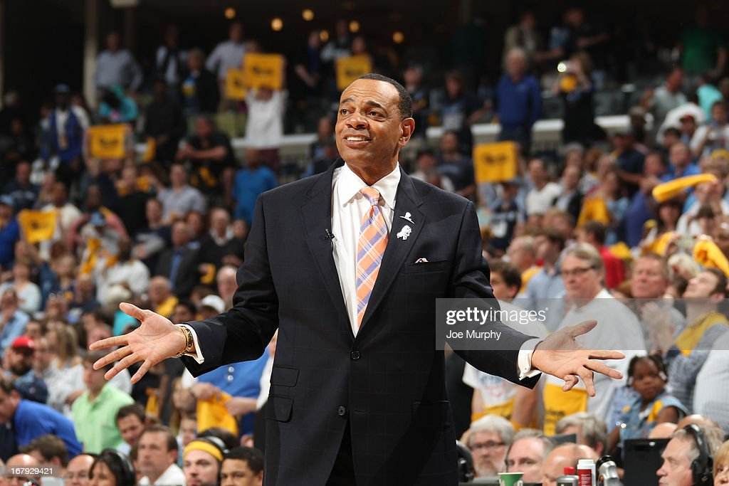 Lionel Hollins of the Memphis Grizzlies reacts to a play from the bench during the game against the Los Angeles Clippers in Game Three of the Western Conference Quarterfinals during the 2013 NBA Playoffs on April 25, 2013 at FedExForum in Memphis, Tennessee.