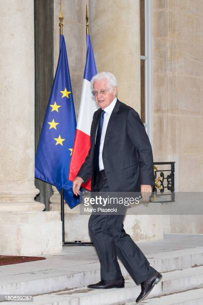 Lionel Jospin arrives to attend the 'legion d'honneur' medal ceremony at Elysee Palace on September 17 2013 in Paris France