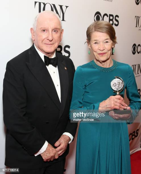Lionel Larner and Glenda Jackson poses in the 72nd Annual Tony Awards Press Room at 3 West Club on June 10 2018 in New York City