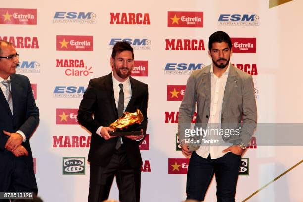 Lionel 'Leo' Messi and Luis Suarez attend the Golden Boot Gala 2017 at the L'Antiga Fabrica Damm on November 24 2017 in Barcelona Spain