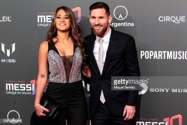 Lionel 'Leo' Messi of FC Barcelona and Antonella Roccuzzo attend the Cirque Du Soleil Inspired by Leo Messi presentation at the Camp Nou FC Barcelona...