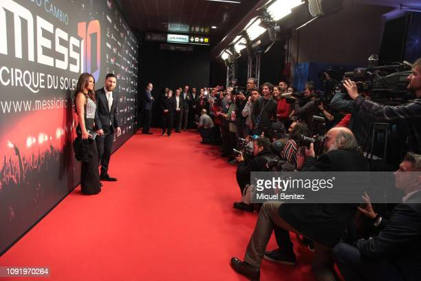 Lionel 'Leo' Messi of FC Barcelona and Antonella Roccuzzo attend the Cirque Du Soleil ÔMessi 10Õ Inspired by Leo Messi presentation at the Camp Nou...
