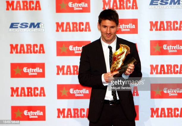Lionel 'Leo' Messi receiving the European Golden Boot 2012 award for best European goalscorer of the 20112012 season on October 29 2012 in Barcelona...