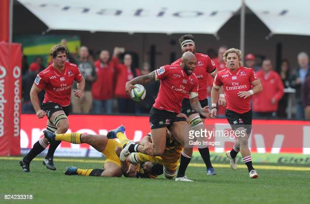 Lionel Mapoe of Lions in action during the Super Rugby Semi Final match between Emirates Lions and Hurricanes at Emirates Airline Park on July 29...
