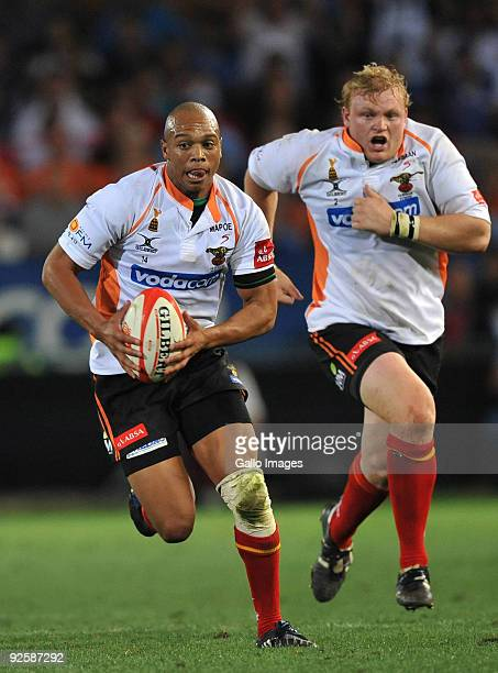 Lionel Mapoe of the Cheetahs running hard during the Absa Currie Cup match between Blue Bulls and Free State Cheetahs from Loftus Versfeld on October...