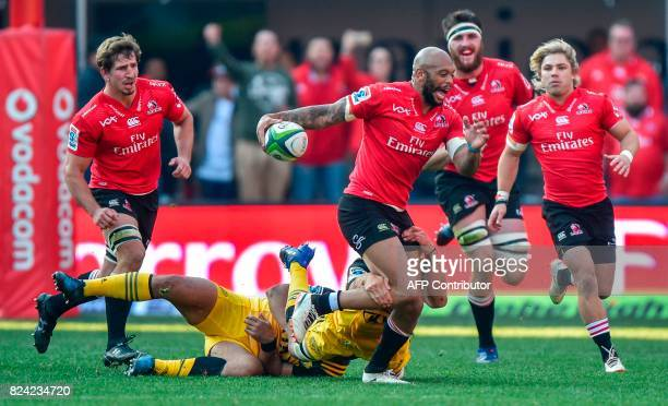 Lionel Mapoe of the Lions breaks through during the Super Rugby semifinal match between Lions and Hurricanes at Ellis Park Rugby Stadium in...