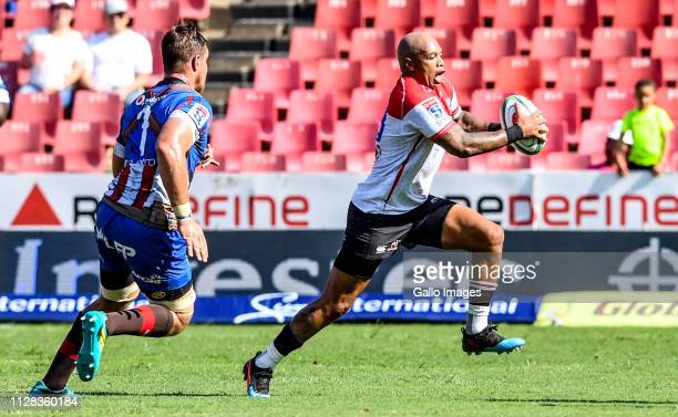Lionel Mapoe of the Lions during the Super Rugby match between Emirates Lions and Vodacom Bulls at Emirates Airline Park on March 02 2019 in...