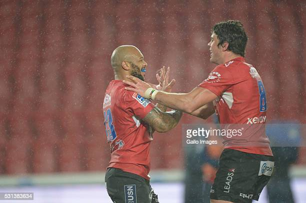 Lionel Mapoe of the Lions scores a try during the Super Rugby match between Emirates Lions and Blues at Emirates Airline Park on May 14 2016 in...