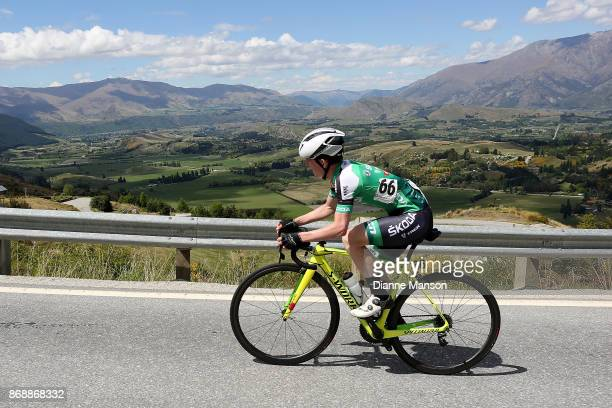 Lionel Mawditt of Australia makes the climb up to Coronet Peak during stage 3 from Mossburn to Coronet Peak during the 2017 Tour of Southland on...
