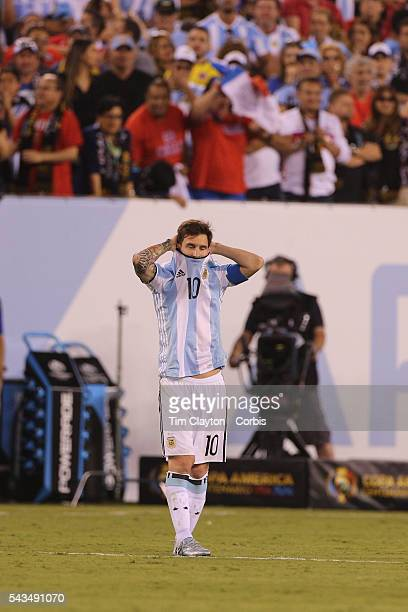 Lionel Messi #10 of Argentina on the half way line after missing a penalty in the penalty shoot out during the Argentina Vs Chile Final match of the...