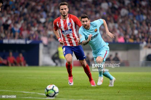 Lionel Messi #10 of FC Barcelona during The La Liga match between Club Atletico de Madrid and FC Barcelona at Wanda Metropolitano on October 14 2017...
