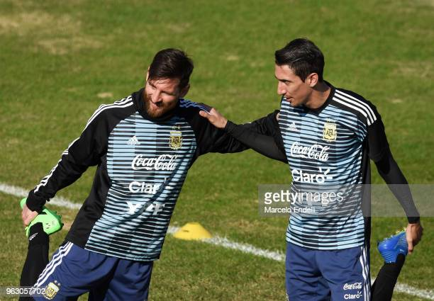 Lionel Messi and Angel Di Maria warm up during a training session open to the public as part of the team preparation for FIFA World Cup Russia 2018...