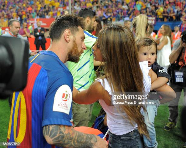 Lionel Messi and Antonella Roccuzzo attend the Copa del Rey Final match between FC Barcelona and Alaves FC at Vicente Calderon Stadium on May 28 2017...