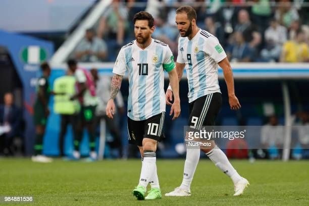 Lionel Messi and Gonzalo Higuain of Argentina national team during the 2018 FIFA World Cup Russia group D match between Nigeria and Argentina on June...