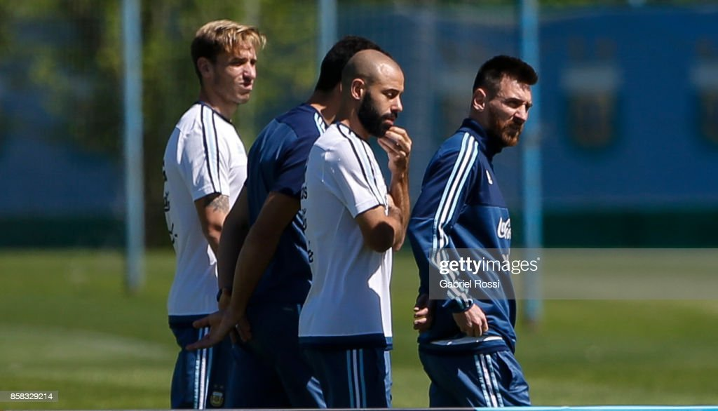 Lionel Messi and Javier Mascherano of Argentina talk during a training session at Argentine Football Association (AFA) 'Julio Humberto Grondona' training camp on October 06, 2017 in Ezeiza, Argentina.