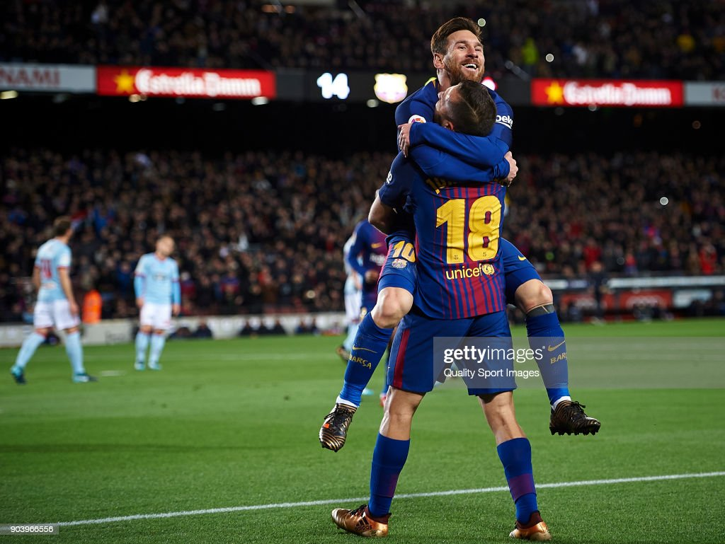Lionel Messi (L) and Jordi Alba of Barcelona celebrates after scoring a goal during the Copa Del Rey 2nd leg match between Barcelona and Celta Vigo at Camp Nou on January 11, 2018 in Barcelona, Spain.