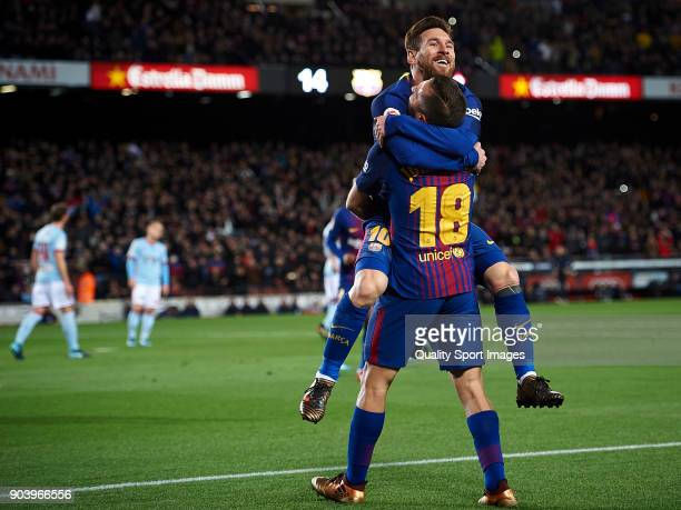 Lionel Messi and Jordi Alba of Barcelona celebrates after scoring a goal during the Copa Del Rey 2nd leg match between Barcelona and Celta Vigo at...