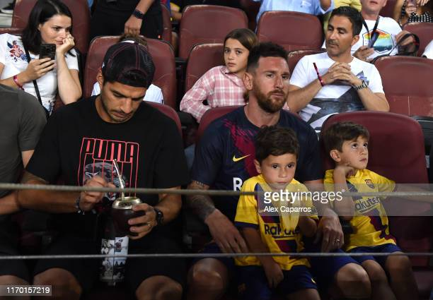 Lionel Messi and Luis Suarez of Barcelona look on prior to the Liga match between FC Barcelona and Real Betis at Camp Nou on August 25 2019 in...
