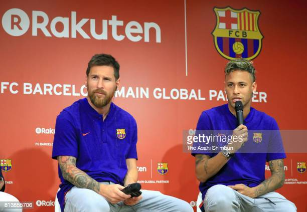 Lionel Messi and Neymar attend the FC Barcelona And Rakuten Global Partnership Press Conference on July 13 2017 in Tokyo Japan
