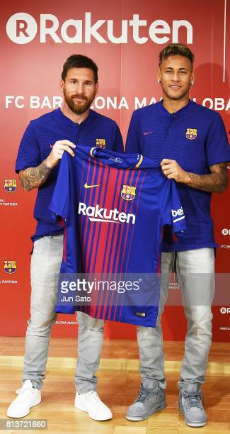 Lionel Messi and Neymar Jr attend the press conference for Rakuten FC Barcelona Global Partnership Launch on July 13 2017 in Tokyo Japan