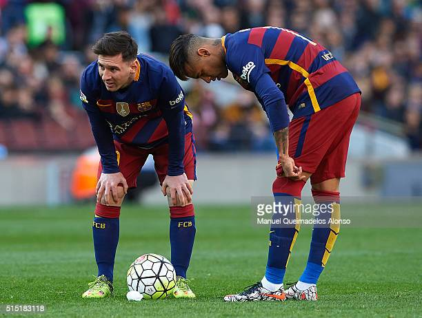 Lionel Messi and Neymar JR of Barcelona react during the La Liga match between FC Barcelona and Getafe CF at Camp Nou on March 12 2016 in Barcelona...