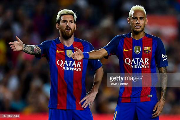 Lionel Messi and Neymar Jr of FC Barcelona reacts during the La Liga match between FC Barcelona and Deportivo Alaves at Camp Nou stadium on September...