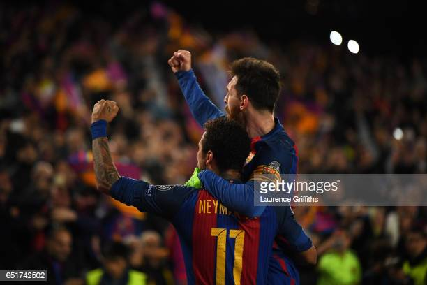 Lionel Messi and Neymar of Barcelona celebrate the sixth goal during the UEFA Champions League Round of 16 second leg match between FC Barcelona and...
