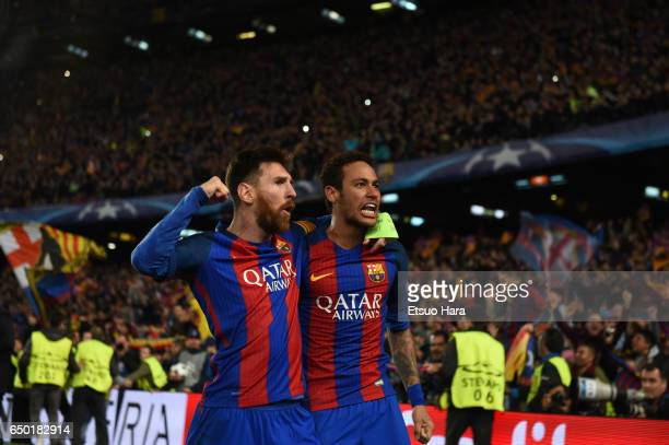 Lionel Messi and Neymar of Barcelona celebrate their side's sixth goal during the UEFA Champions League Round of 16 second leg match between FC...