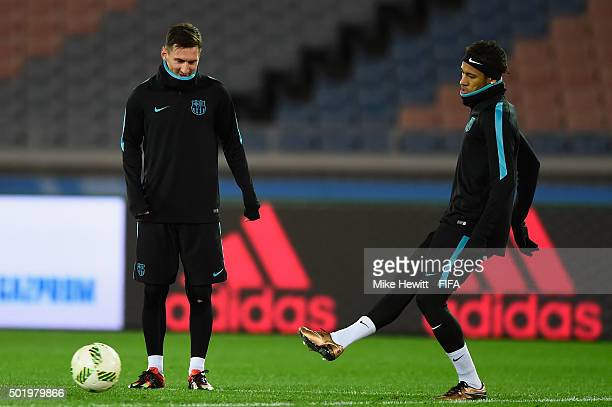 Lionel Messi and Neymar of Barcelona take part in a Barcelona training session ahead of the FIFA Club World Cup Japan 2015 Final at International...