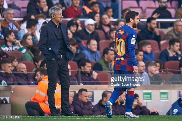 Lionel Messi and Quique Setien head coach of FC Barcelona during the Liga match between FC Barcelona and SD Eibar SAD at Camp Nou on February 22 2020...