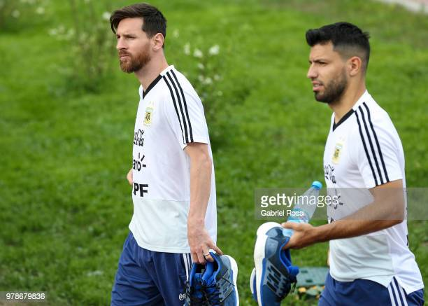Lionel Messi and Sergio Aguero of Argentina arrive prior a training session at Stadium of Syroyezhkin sports school on June 19 2018 in Bronnitsy...