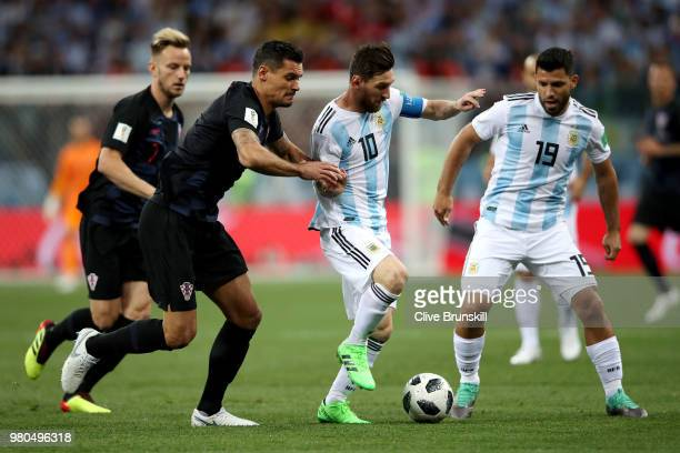 Lionel Messi and Sergio Aguero of Argentina challenge for the ball with Ivan Rakitic of Croatia during the 2018 FIFA World Cup Russia group D match...