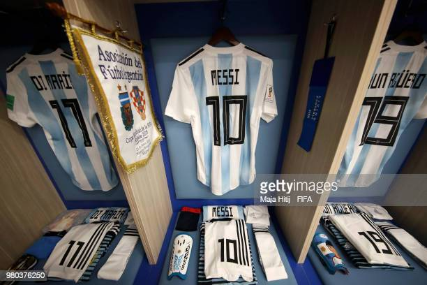 Lionel Messi Angel Di Maria and Serigo Aguero of Argentina's shirts hang in the Argentina dressing room prior to the 2018 FIFA World Cup Russia group...