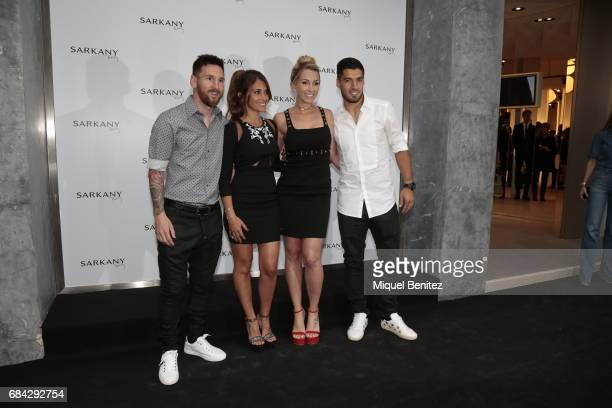Lionel Messi Antonella Roccuzzo Sofia Balbi and Luis Suarez attend the Sarkany Shoes Boutique Openeing in Barcelona on May 17 2017 in Barcelona Spain