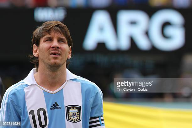 Lionel Messi Argentina during the team presentations before the Brazil V Argentina International Football Friendly match at MetLife Stadium East...