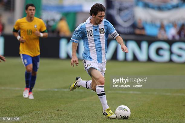 Lionel Messi Argentina in action during the Brazil V Argentina International Football Friendly match at MetLife Stadium East Rutherford New Jersey...