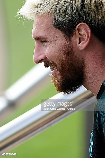 Lionel Messi attends a training session at the Sports Center FC Barcelona Joan Gamper before the Champions League match between FCBarcelona and...