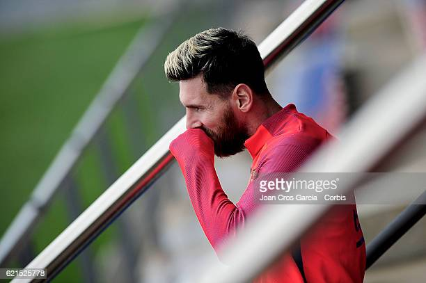 Lionel Messi attends a training session at the Sports Center FC Barcelona Joan Gamper before the Spanish League match between Sevilla FC and FC...