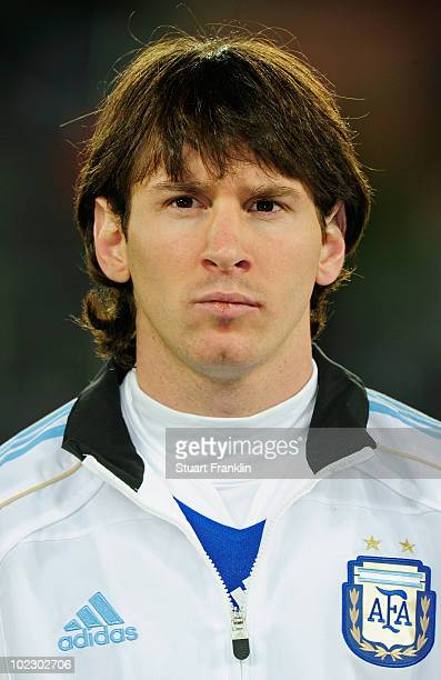 Lionel Messi captain of Argentina lines up for the national anthems prior to the 2010 FIFA World Cup South Africa Group B match between Greece and...