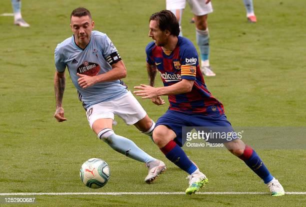 Lionel Messi Captain of FC Barcelona controls the ball during the Liga match between RC Celta de Vigo and FC Barcelona at AbancaBalaídos on June 27...
