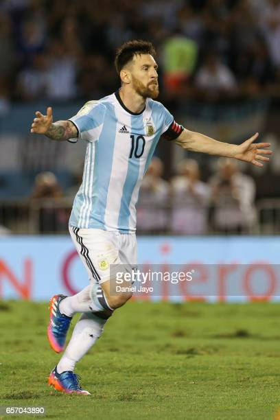 Lionel Messi celebrates after scoring his team's first goal during a match between Argentina and Chile as part of FIFA 2018 World Cup Qualifiers at...