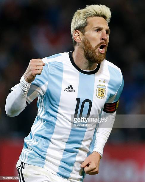 Lionel Messi Celebrates After Scoring The First Goal During A Match Between Argentina And Uruguay As