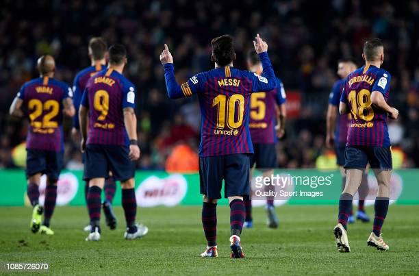 Lionel Messi celebrates his goal during the La Liga match between FC Barcelona and RC Celta de Vigo at Camp Nou on December 22 2018 in Barcelona Spain