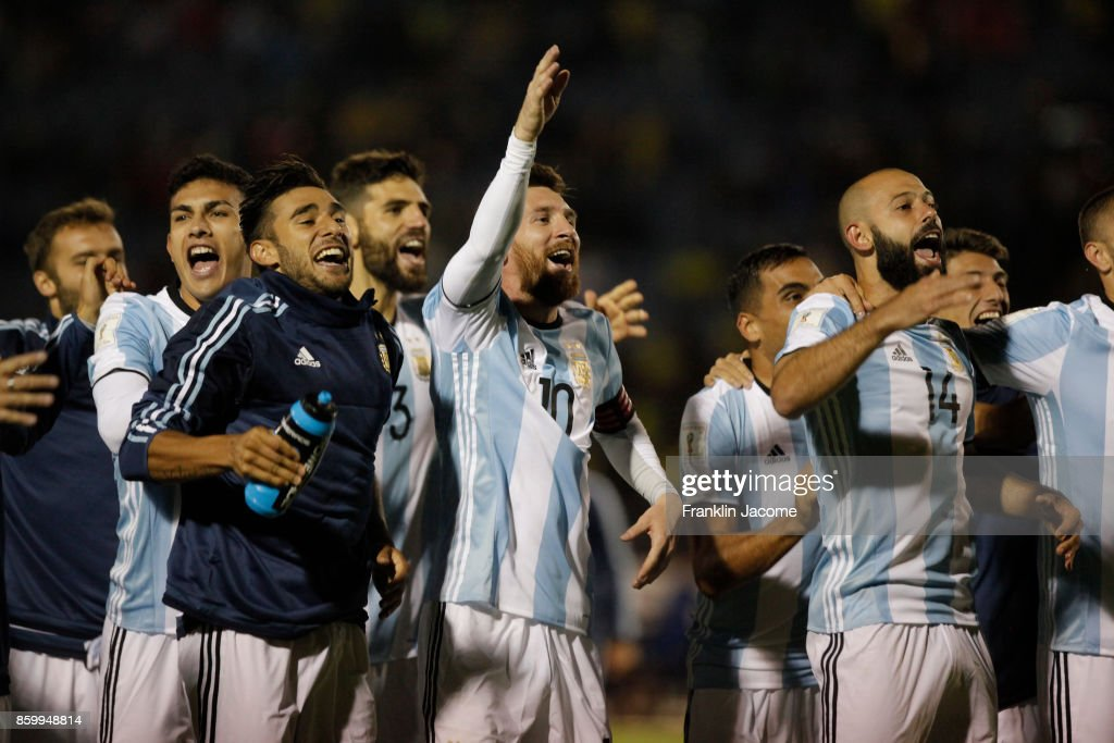 Lionel Messi celebrates with his teammates qualifying to the World Cup after winning a match between Ecuador and Argentina as part of FIFA 2018 World Cup Qualifiers at Olimpico Atahualpa Stadium on October 10, 2017 in Quito, Ecuador.