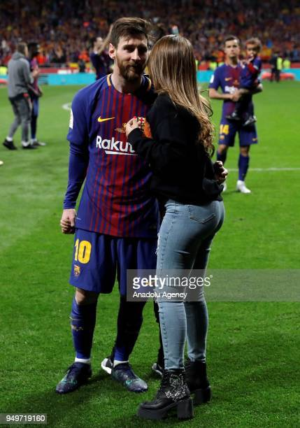 Lionel Messi celebrates with his wife Antonella Roccuzzo after Copa del Rey Final soccer match between Sevilla and Barcelona at Wanda Metropolitano...