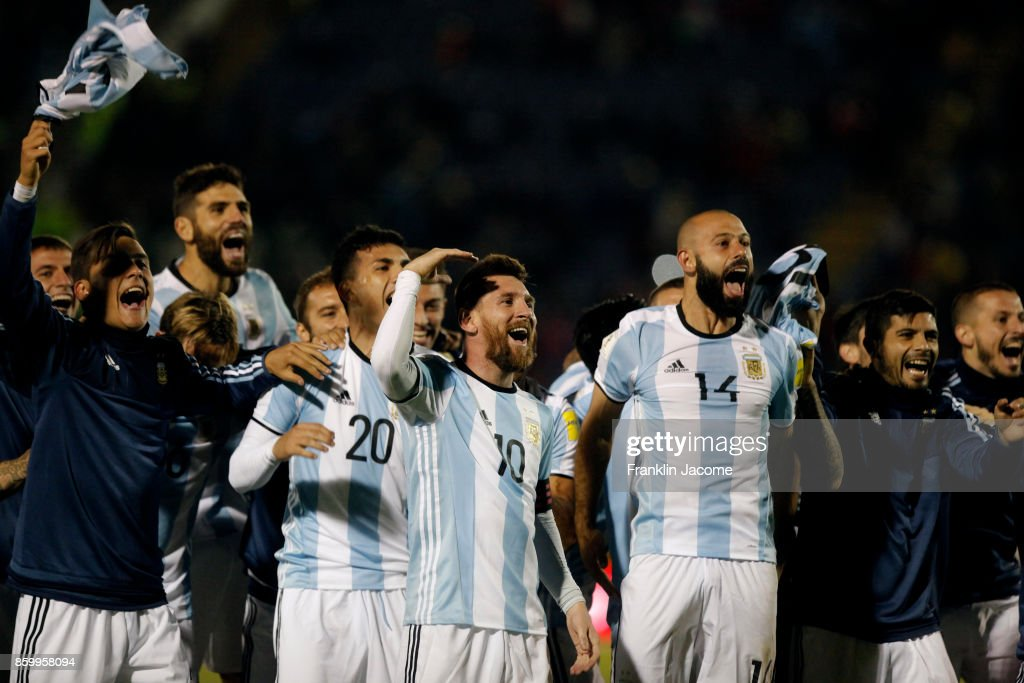 Lionel Messi celebrates with teammates qualifying to the World Cup after winning a match between Ecuador and Argentina as part of FIFA 2018 World Cup Qualifiers at Olimpico Atahualpa Stadium on October 10, 2017 in Quito, Ecuador.