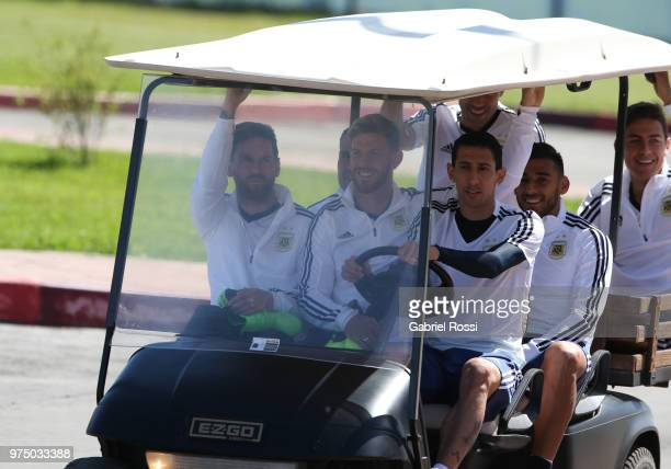 Lionel Messi Cristian Ansaldi Angel Di Maria Eduardo Salvio Javier Mascherano and Paulo Dybala of Argentina arrive prior the last training session...