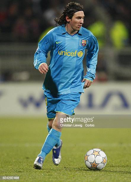 Lionel Messi during the champions league soccer match between Olympique Lyonnais and FC Barcelona
